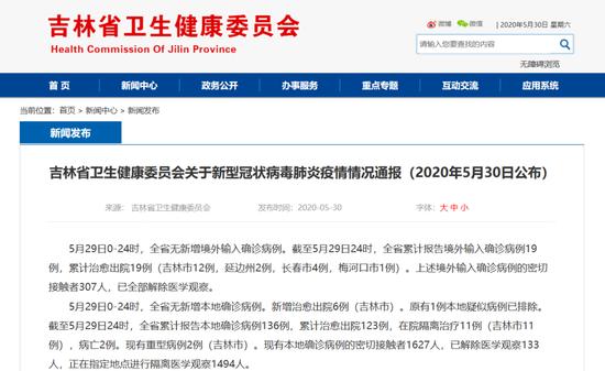 5月29日吉林省无新增确诊病例图片