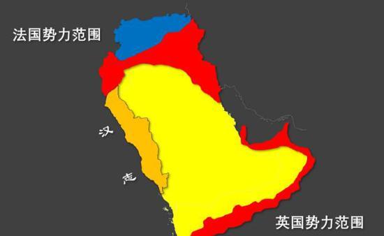 ▲一战后英法谋求瓜分阿拉伯地区