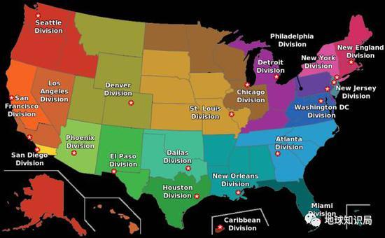美国禁毒局在国内的21个地方分支部门