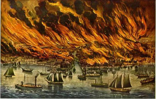图为关于1871年芝加哥大火的画作 图源:澎湃新闻