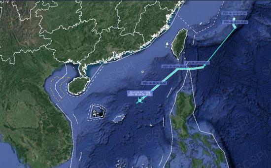 """""""南海战略态势感知""""平台8月26日发布的美军RC-135S侦察机飞行路线"""