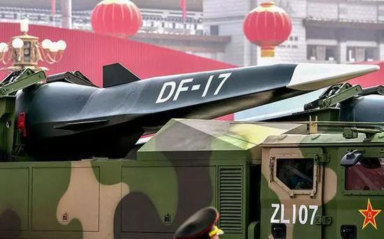 ▲中国在去年的国庆阅兵式上展示了东风17高超音速滑翔弹,引起了广泛的关注