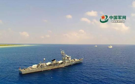 ▲资料图片:军警民联合编队巡逻西沙岛礁。(中国军网)