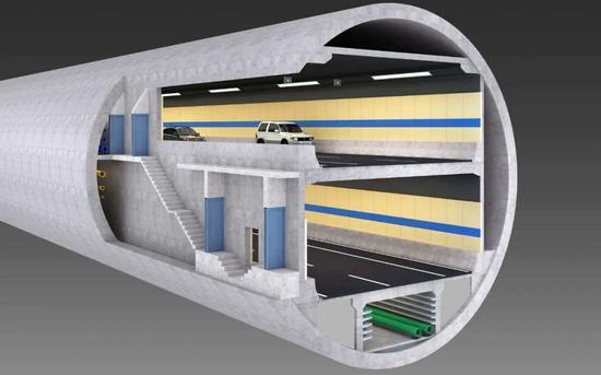 东湖段盾构隧道斜剖面图