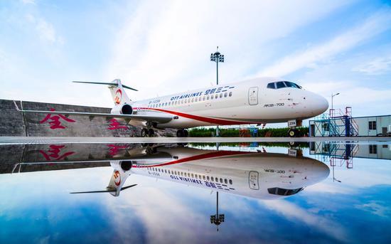 东航一二三航空迎来ARJ飞机。中国商飞供图