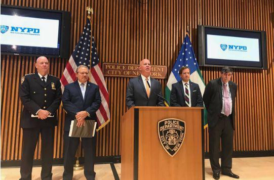 ▲紐約警察局局長奧尼爾在新聞發佈會上表示,這些嫌犯令警局蒙羞 圖據《華爾街日報》