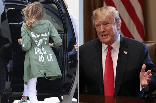 """特朗普表示梅拉尼娅的衣服上写的字指代的是她对""""假新闻媒体""""说的话"""