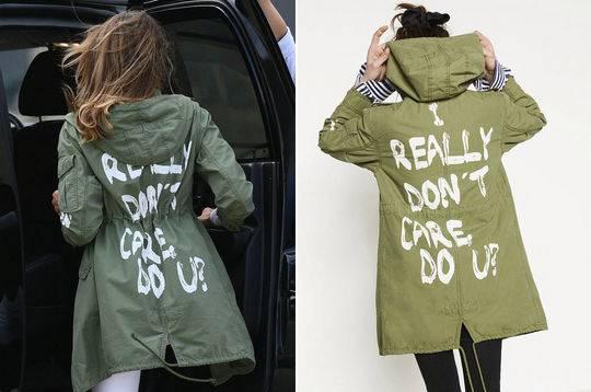 """梅拉尼娅身穿一件写着""""我真的不在乎,你呢""""字样的风衣"""