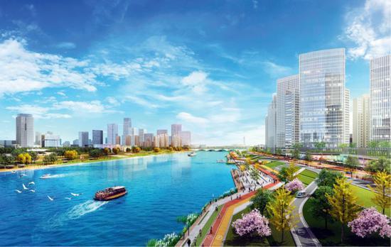 北京市筹备版图委铺示的北都城市副中心北运河岸线功效图。图/新华