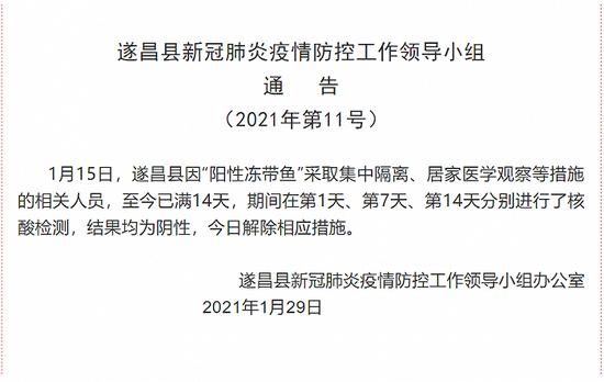 """浙江遂昌:因""""阳性冻带鱼""""集中隔离相关人员核酸检测均为阴性图片"""