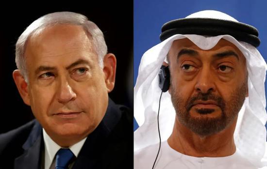 拼版图片,以色列总理内塔尼亚胡(左)与阿联酋阿布扎比王储穆罕默德。新华社/法新