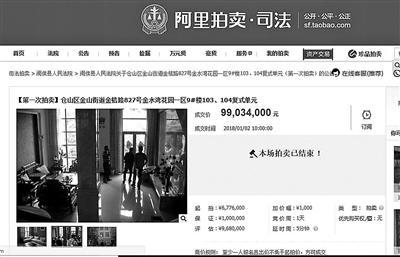 评估价968万元的房屋在司法拍卖平台被拍到9903.4万元