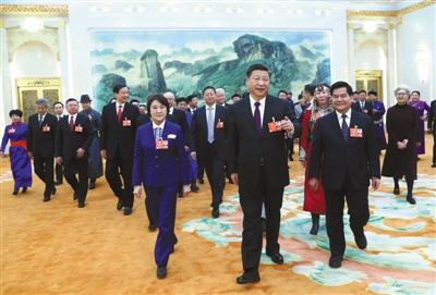 昨日,中共中央总书记、国家主席、中央军委主席习近平参加十三届全国人大一次会议内蒙古代表团的审议。新华社记者 谢环驰 摄