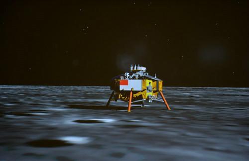 资料图片:2013年12月14日,嫦娥三号探测器成功着陆在月球虹湾区地区,中国航天器首次在地外天体实现软着陆。这是北京航天飞行控制中心大屏幕上显示的平稳落月的嫦娥三号探测器。新华社发