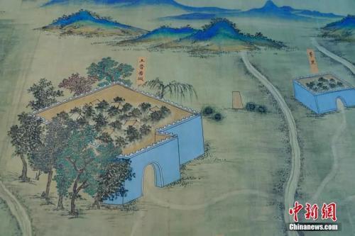 图为《丝路山水地图》局部。中新社记者 杜洋 摄