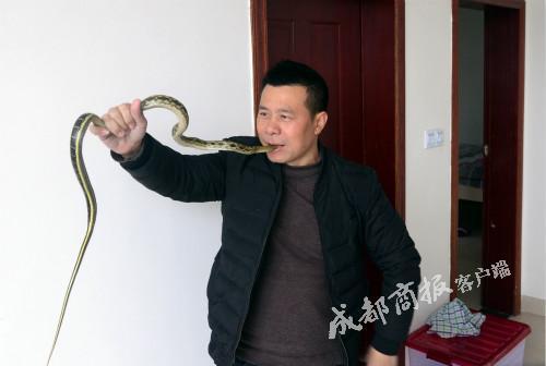 """▲劉紅表演""""生吞活蛇""""(危險動作,請勿模仿)"""