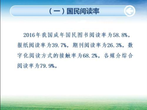 2016年中国成年国民阅读率。中国新闻出版研究院供图