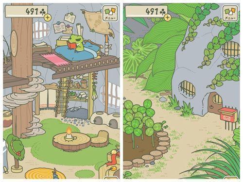 《旅行青蛙》游戏界面截图。