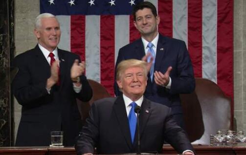 特朗普发表上任后首份国情咨文演讲。(图源:CNN)