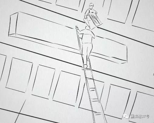 ▲安装工人通过梯子登上建筑物安装、拆除广告牌。 新京报动新闻模拟图