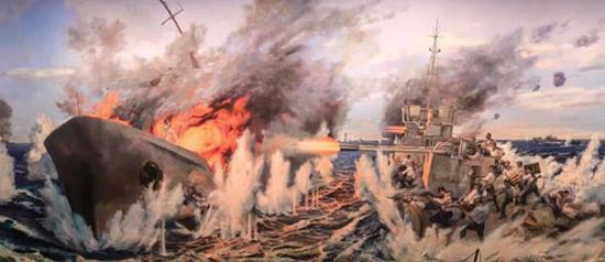 西沙海战油画