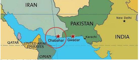 伊朗恰巴哈尔港(红圈内五角星标注部位)
