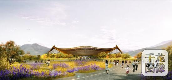 2019北京世园会主要建筑场馆12月底前主体结构封顶。图为中国馆效果图。北京世园局供图 千龙网发