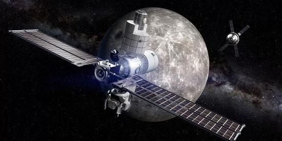"""▲美俄将合作建造首个月球轨道空间站""""深空门""""的想象图(NASA)"""