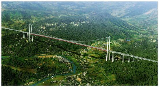 建成后的大河特大桥效果图。(中国建筑供图)