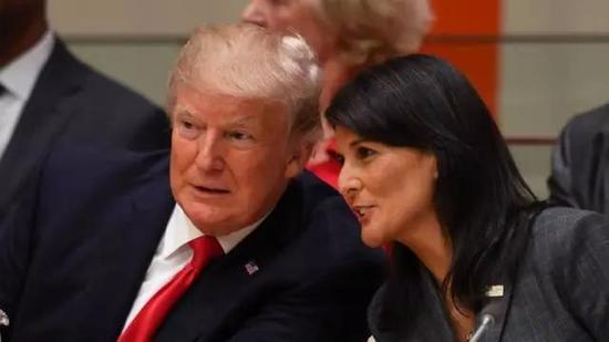 ▲美国总统特朗普与美国驻联合国大使黑莉。