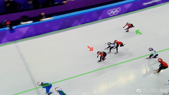 绿色箭头所指为正在竞赛中的选手,白色箭头所指为烦扰竞赛的未在竞赛中的选手