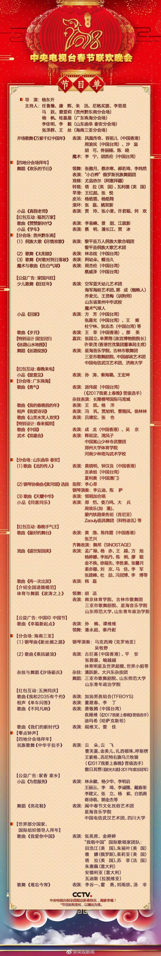 """狗年央视春晚节目单出炉 诙谐段子讲述百姓生活"""""""