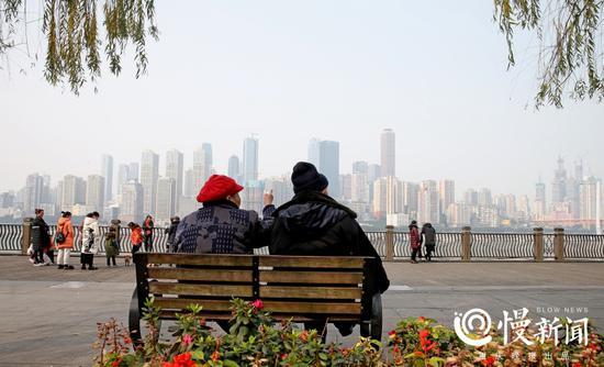 遛遛弯、晒晒太阳,老夫妻兴致勃勃地看风景。