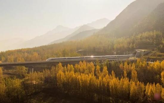 ▲11月26日,动车组试验列车驶过西成高铁位于关中平原的一座铁路大桥。
