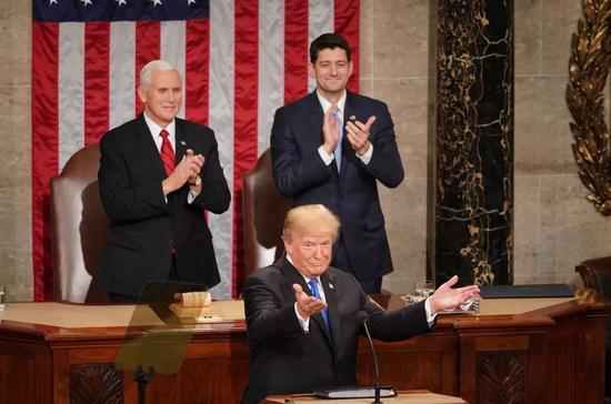 ▲资料图片:2018年1月30日,特朗普在美国国会发表就任以来的首次年度国情咨文。