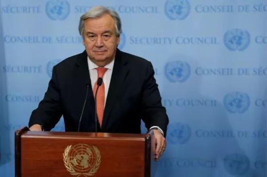 12月6日,在位于纽约的联合国总部,联合国秘书长古特雷斯对媒体发表讲话。 新华社/路透