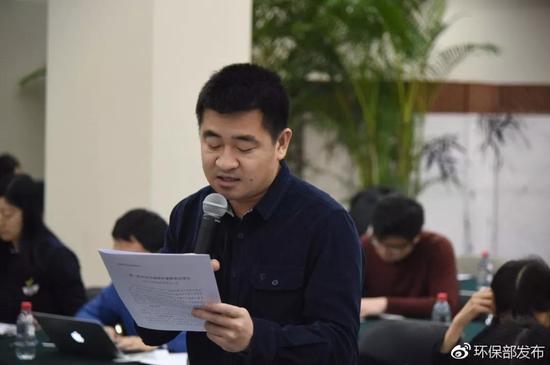 ▲每经记者 李彪(来源:环保部发布微博)