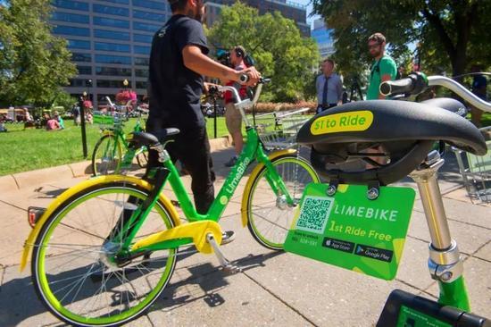 ▲LimeBike泛起在美国首都华盛顿。(法新社)