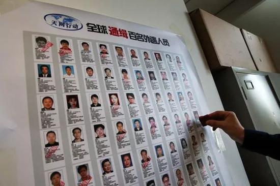 """△ 中央追逃办的""""名单墙""""   供图   中央纪委官网"""