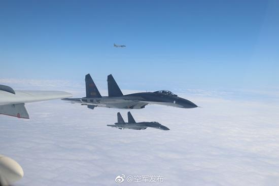 """中国空军官方微博""""@空军发布""""截图"""