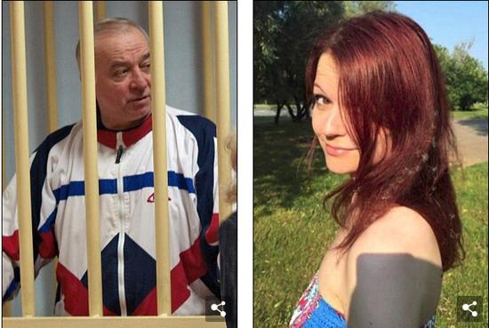 """俄罗斯前""""双面间谍""""斯克里帕尔与女儿尤利娅。(图片来源:《每日邮报》)"""