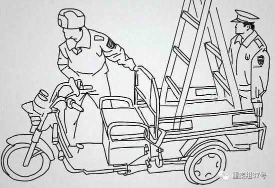 ▲城管收走三轮车和梯子。新京报动新闻模拟图