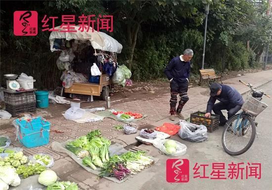 ▲在路边卖菜的李显华。