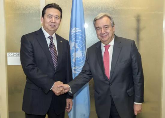 孟宏伟与联合国秘书长古特雷斯会面
