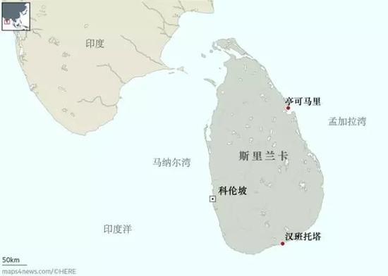 △科伦坡港和汉班托塔港是主航线上的重要节点
