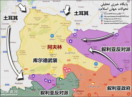 土耳其行动前的阿夫林地区局势(图源:观察者网)