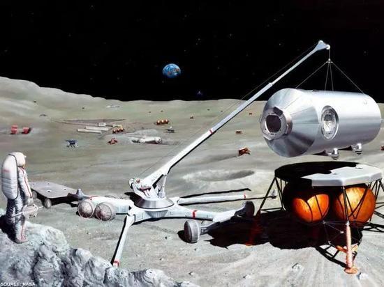 ▲未来考察队者在月球上采矿的设想图 图据NASA