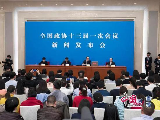 全国政协十三届一次会议新闻发布会现场(中国网 )