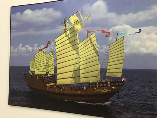 设想中,仿明代郑和宝船建成下水后,可远航东南亚甚至非洲。