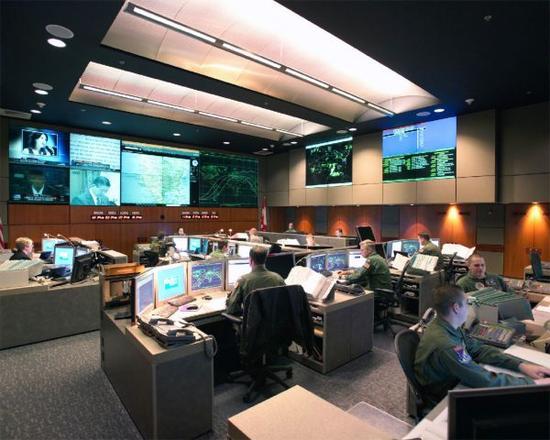 资料图:北美防空司令部地下指挥中心监控室。